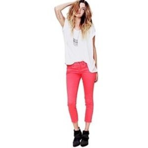 Free People cropped jeans- pink
